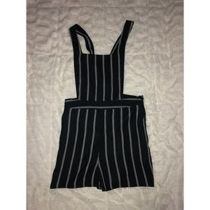 Express Stripe Extreme High Rise Short Overalls